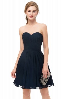 NELLY | A-line Strapless Short Black Chiffon Homecoming Dresses_3