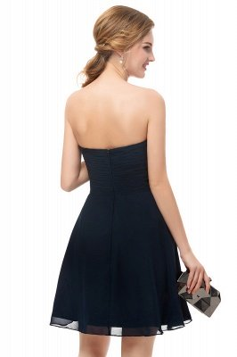 NELLY | A-line Strapless Short Black Chiffon Homecoming Dresses_2