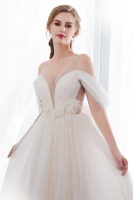 NANCY | A-line Sleeveless Floor Length Lace Ivory Wedding Dresses_6