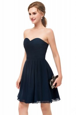 NELLY | A-line Strapless Short Black Chiffon Homecoming Dresses_4