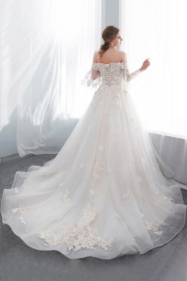 NANCE | Ball Gown Off-the-shoulder Floor Length Appliques Tulle Wedding Dresses_6