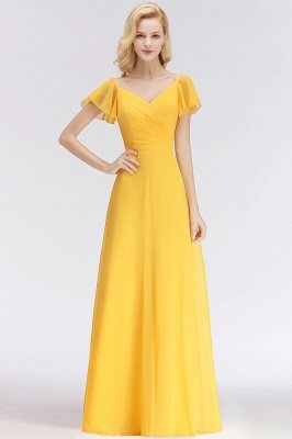 NINA | A-line Long V-neck Short Sleeves Chiffon Bridesmaid Dresses_1