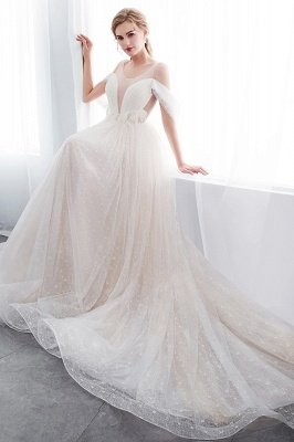 NANCY | A-line Sleeveless Floor Length Lace Ivory Wedding Dresses_10