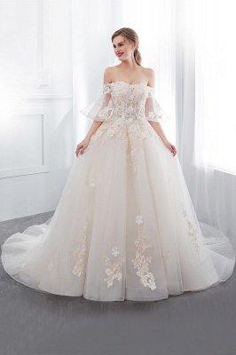NANCE | Бальное платье без бретелек длиной до пола Appliques Tulle Wedding Dresses_4