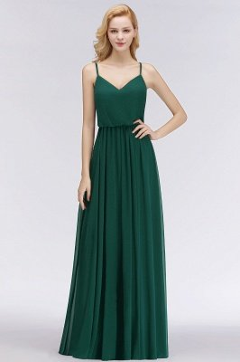 NICOLA | A-line Floor Length V-neck Spaghetti Chiffon Bridesmaid Dresses_2