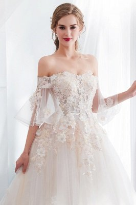 NANCE | Ball Gown Off-the-shoulder Floor Length Appliques Tulle Wedding Dresses_7