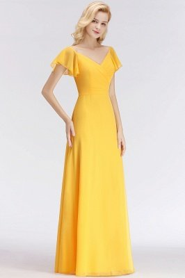 NINA | A-line Long V-neck Short Sleeves Chiffon Bridesmaid Dresses_5