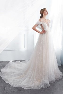 NANCY | A-line Sleeveless Floor Length Lace Ivory Wedding Dresses_3