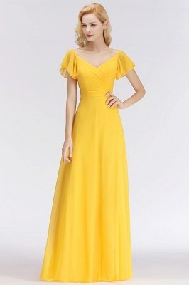 NINA | A-line Long V-neck Short Sleeves Chiffon Bridesmaid Dresses_7
