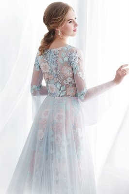 NAOMI | Mantel langen ?rmeln Sheer Ausschnitt Appliqued Blumen Abendkleider_8