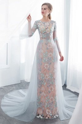 NAOMI | Mantel langen ?rmeln Sheer Ausschnitt Appliqued Blumen Abendkleider_6