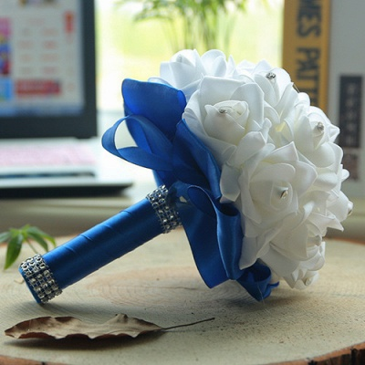 باقة الزفاف من الحرير الأبيض مع مقابض ملونة_10