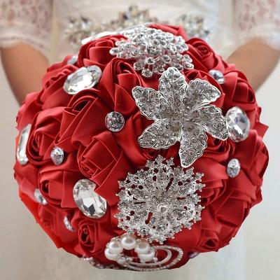 Bunte Seide Rose Crystal Friesen Hochzeitsstrauß_4