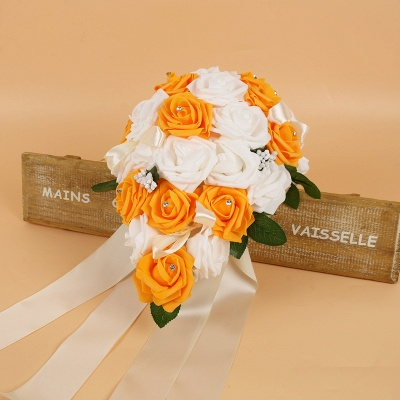 Bunter Seidenrosen-Hochzeits-Blumenstrauß mit Bändern_5