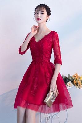 MARGE   A-line V-образным вырезом Half Sleeves Tulle Appliques Homecoming Dresses_4