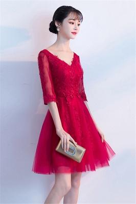 MARGE   A-line V-образным вырезом Half Sleeves Tulle Appliques Homecoming Dresses_8
