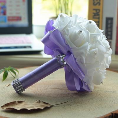باقة الزفاف من الحرير الأبيض مع مقابض ملونة_8