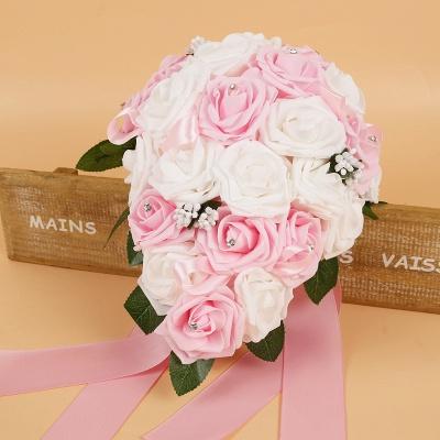 Bunter Seidenrosen-Hochzeits-Blumenstrauß mit Bändern_2
