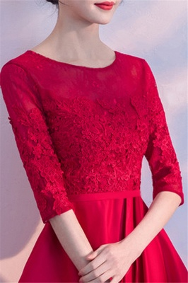 Lace A-Line Zipper Red Half-Sleeves Homecoming Dress_4