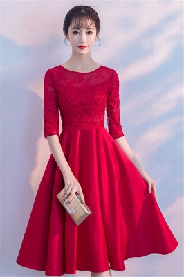 Lace A-Line Zipper Red Half-Sleeves Homecoming Dress_6