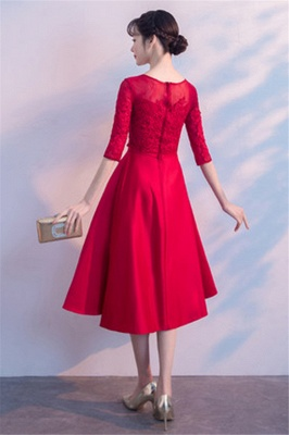 Lace A-Line Zipper Red Half-Sleeves Homecoming Dress_3