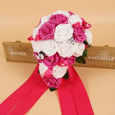 Bunter Seidenrosen-Hochzeits-Blumenstrauß mit Bändern_4