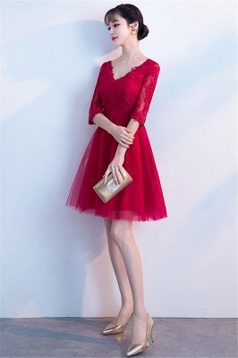 MARGE   A-line V-образным вырезом Half Sleeves Tulle Appliques Homecoming Dresses_6