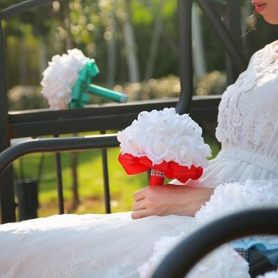 باقة الزفاف من الحرير الأبيض مع مقابض ملونة_15