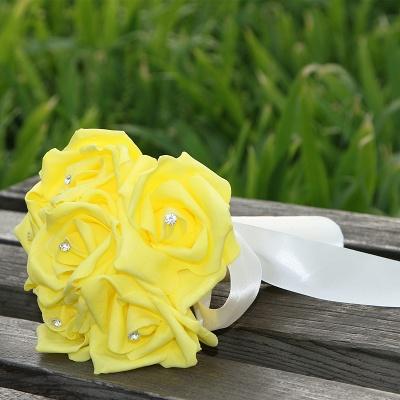 Einfacher Silk Rose-Hochzeits-Blumenstrauß in den mehrfachen Farben_8