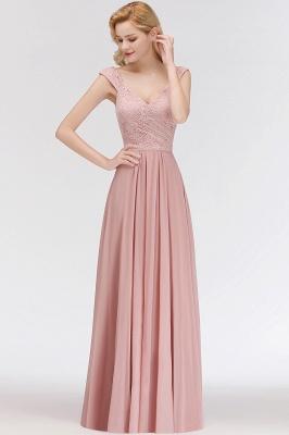 Schlichte A-Linie Lange V-Ausschnitt Brautjungfernkleider | Ärmellose Spitze Top Chiffon Brautjungfer Kleider_6