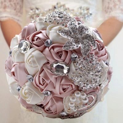 Bunte Seide Rose Crystal Friesen Hochzeitsstrauß_3