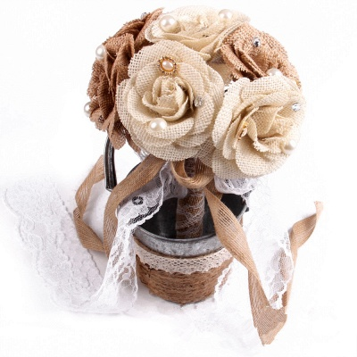 Brown Bouquet for Wedding with ribbon strings