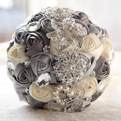 Bunte Seide Rose Crystal Friesen Hochzeitsstrauß_1