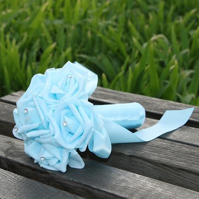 Einfacher Silk Rose-Hochzeits-Blumenstrauß in den mehrfachen Farben_11