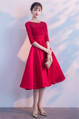 Lace A-Line Zipper Red Half-Sleeves Homecoming Dress_7