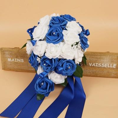 Bunter Seidenrosen-Hochzeits-Blumenstrauß mit Bändern_7