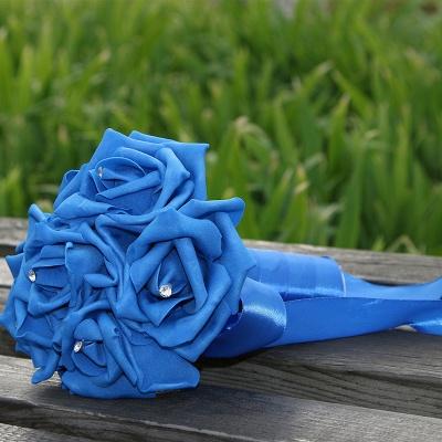 Einfacher Silk Rose-Hochzeits-Blumenstrauß in den mehrfachen Farben_12