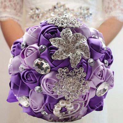 Bunte Seide Rose Crystal Friesen Hochzeitsstrauß_6