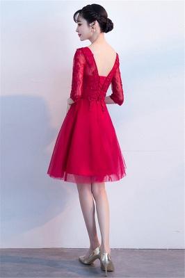 MARGE   A-line V-образным вырезом Half Sleeves Tulle Appliques Homecoming Dresses_3