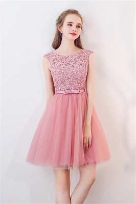 Tulle Short Sleeveless Lace Bowknot Cheap Pink Homecoming Dresses