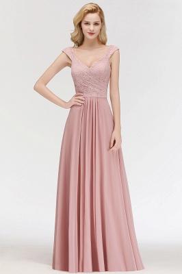 Schlichte A-Linie Lange V-Ausschnitt Brautjungfernkleider | Ärmellose Spitze Top Chiffon Brautjungfer Kleider_5