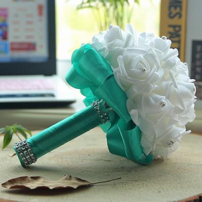 باقة الزفاف من الحرير الأبيض مع مقابض ملونة_12