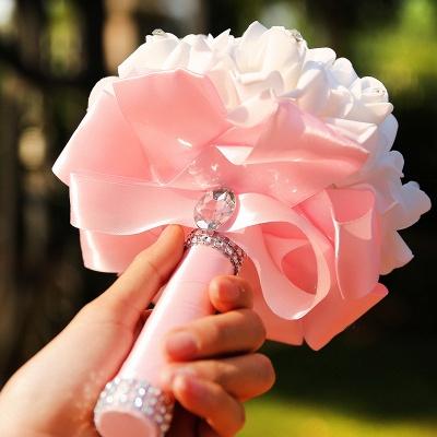 باقة الزفاف من الحرير الأبيض مع مقابض ملونة_14