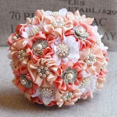 Silk Rose Pearls Wedding Bouquet in Three Tune Colors