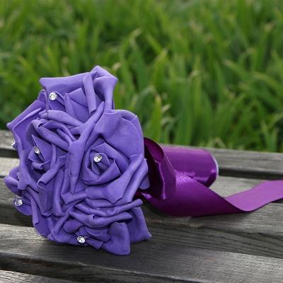 Einfacher Silk Rose-Hochzeits-Blumenstrauß in den mehrfachen Farben_9