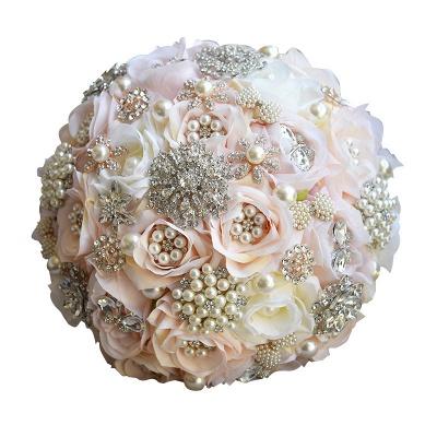 Beading de cristal brilhante Bouquet de noiva de seda rosa em branco e rosa_5