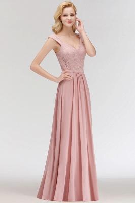 Schlichte A-Linie Lange V-Ausschnitt Brautjungfernkleider | Ärmellose Spitze Top Chiffon Brautjungfer Kleider_7