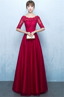 Glamorous Lace Lace-Up A-Line Half-Sleeves Floor-Length Evening Dresses
