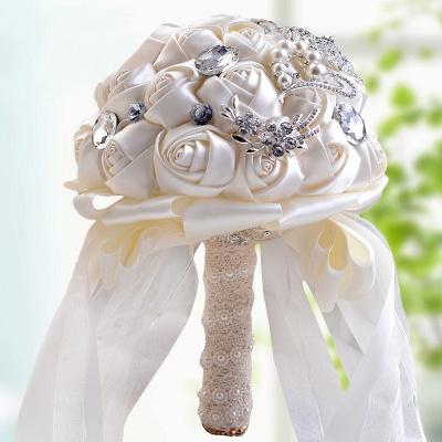 Bunte Seide Rose Crystal Friesen Hochzeitsstrauß_2