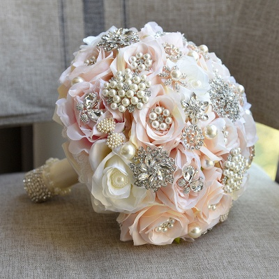 Shiny Crystal Beading Silk Rose Wedding Bouquet in White and Pink
